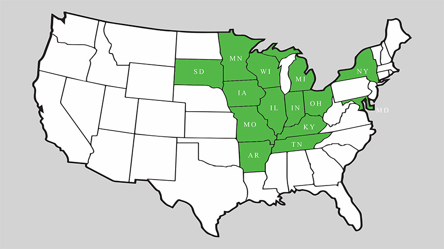 States served by Pizzo & Associates, Ltd.